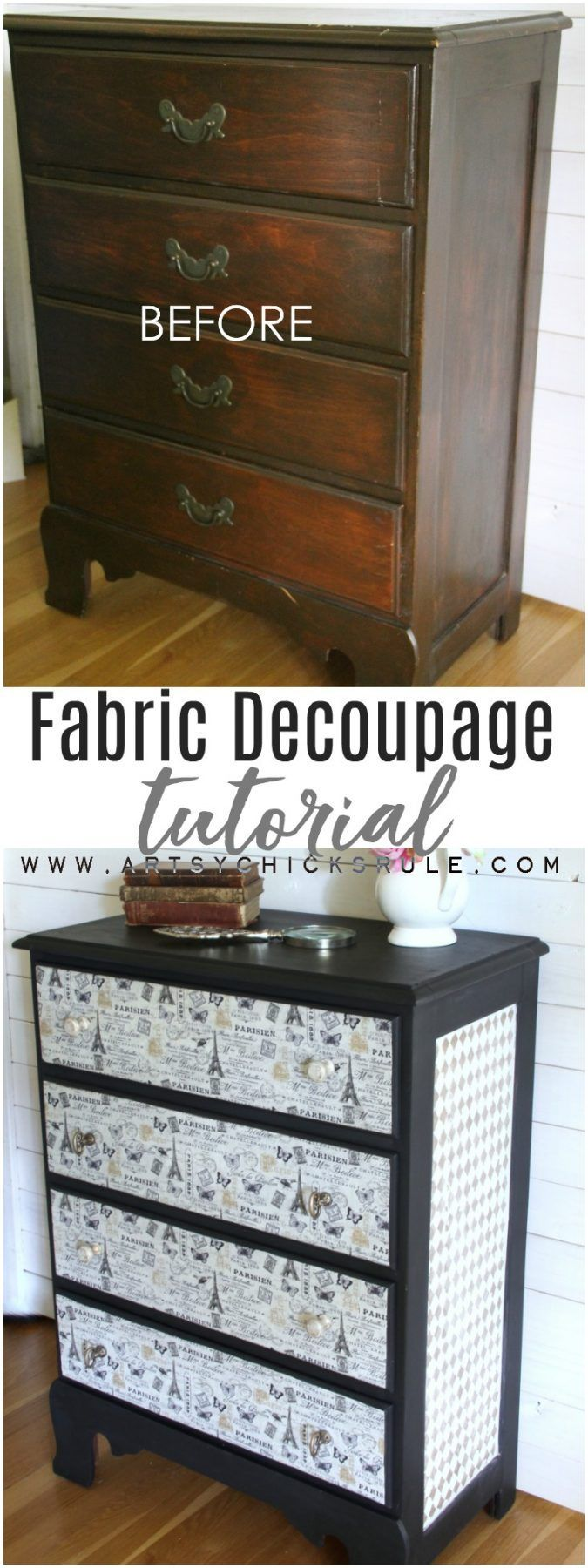 Love this! French Fabric Decoupage Tutorial - artsychicksrule.com #fabricdecoupa...