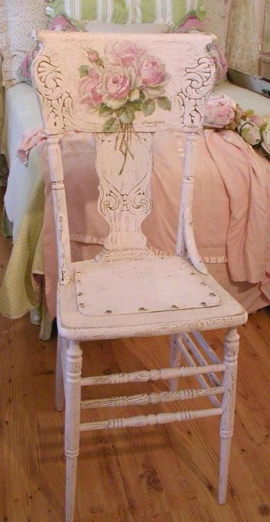 Shabby Chic chair that I would love to have in my bedroom.