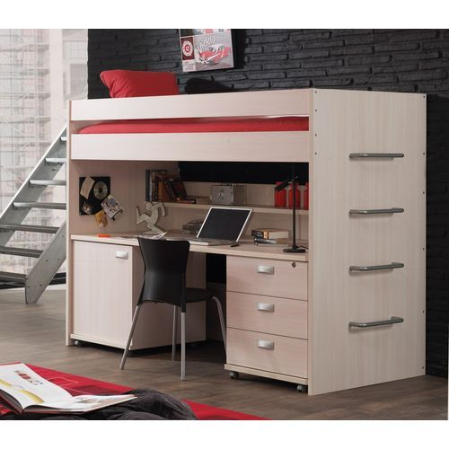lit mezzanine contemporain melby bouleau 90x200. Black Bedroom Furniture Sets. Home Design Ideas