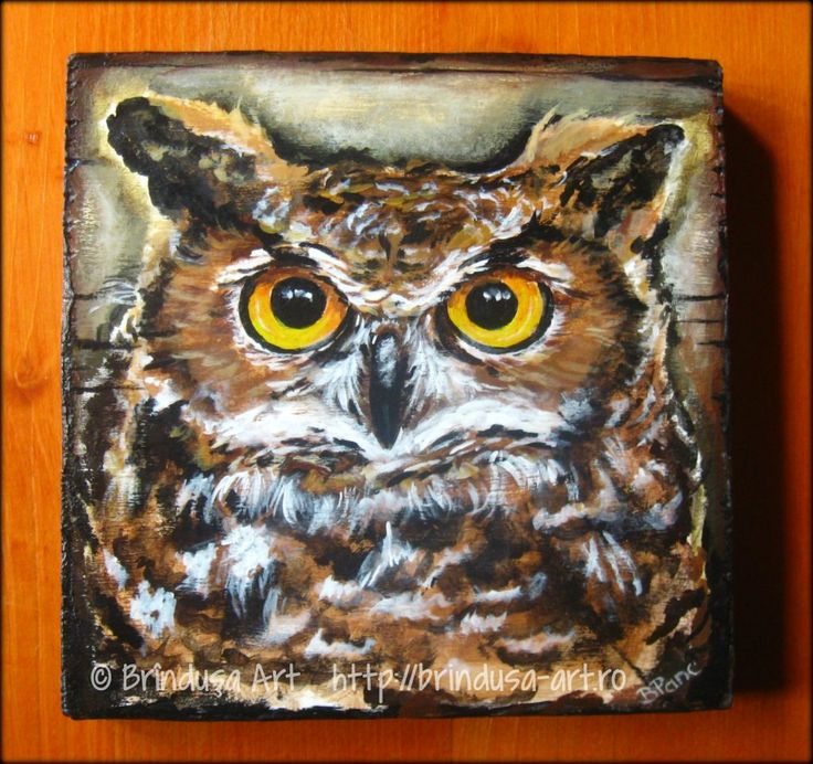 Brîndușa Art  Owl – acrylic painting on wood, 5.5 x 5.5 inches (14 x 14 cm). Bufniţă – pictură în culori acrilice pe lemn, 14 x 14 cm.   #woodpainting #picturapelemn #owl #paintedowl #birds #bufnita #handmade #unicat #BrindusaArt #acrylics #acrilice #art