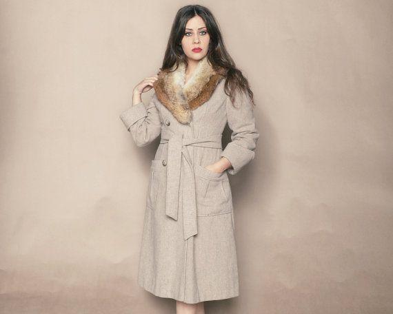Fur Collar Coat 70s Wool Jacket Grey Tan by GravelGhostVintage