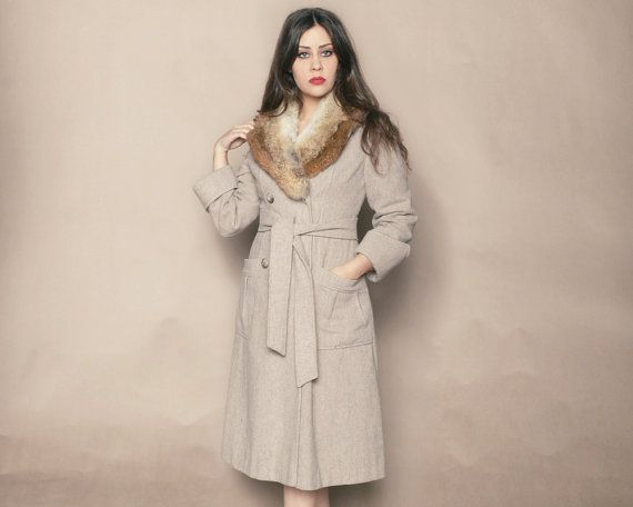 Fur Collar Coat 70s Wool Jacket Grey Tan by GravelGhostVintage