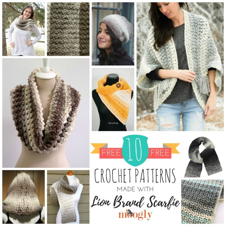 10 Free Crochet Patterns Made With Lion Brand Scarfie Scarfie Yarn Crochet Crochet Patterns