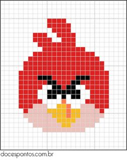 Free Angry Birds Hama Perler Bead Pattern or Cross Stitch Chart