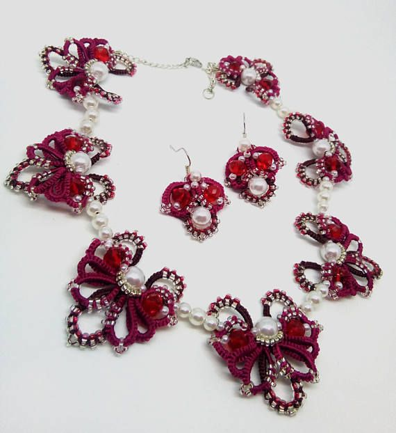 Butterfly Necklace Earrings Red Statement Necklace Jewelry for