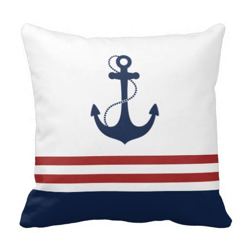 Navy blue anchor with red and white nautical stripes.
