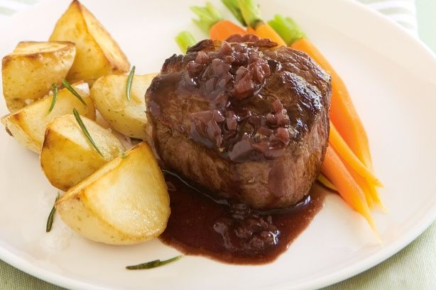 Red wine sauce...delicious with venison chops and mashed potatoes.