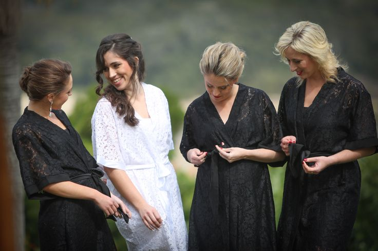 White & black lace bridal robes by Tesi https://www.facebook.com/lovetesi