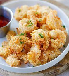 Recette délicieuse de crevettes popcorn au parmesan!                                                                                                                                                                                 Plus