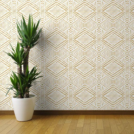 Modern Wallpaper Tribal Geometric Gold By Crystal Walen Abstract Custom Printed Removable Self Adhesive Wallpaper Roll By Spoonflower Peel And Stick Wallpaper Stripe Removable Wallpaper Modern Wallpaper
