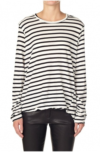 Stripe French Seam L/S Tee With Tail - Blk/Nat - Bassike | Superette