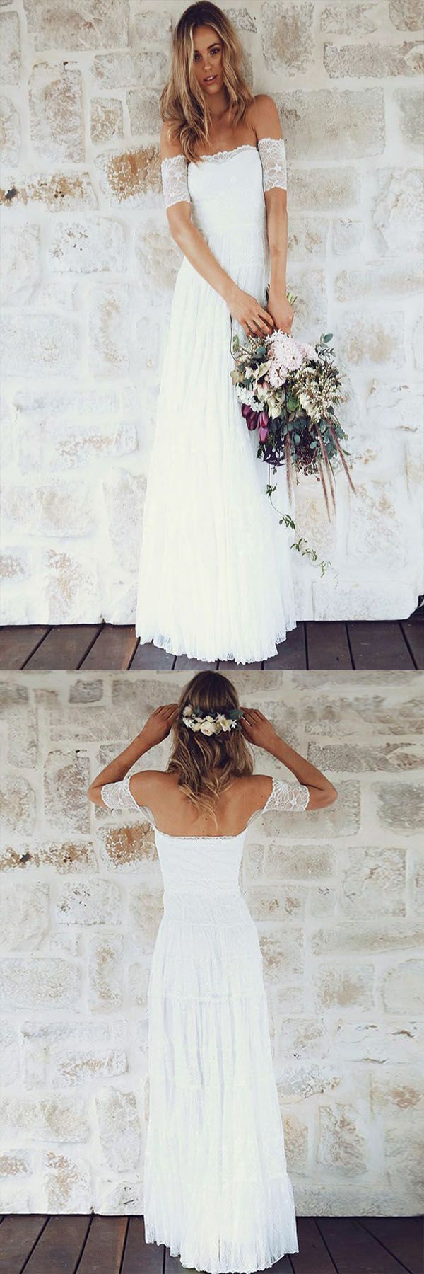 Bright pink dress for wedding guest   Modest ALine Short Sleeves Boho Wedding Dress  Fashion Off