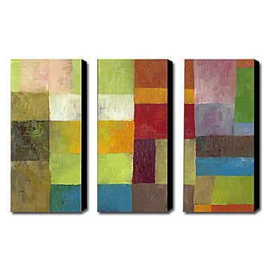 Hand-painted Abstract Oil Painting with Stretched Frame - Set of 3 - GBP £ 99.39