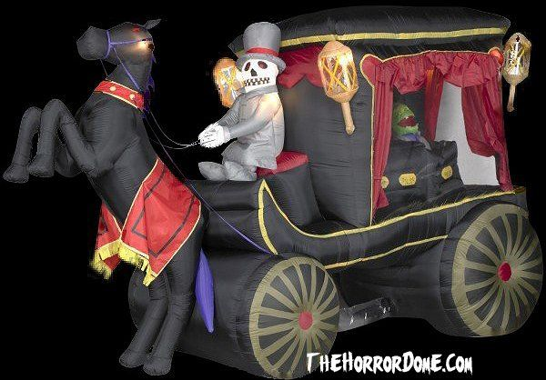 12 foot animated carriage hearse with animated zombie for Animated halloween decoration