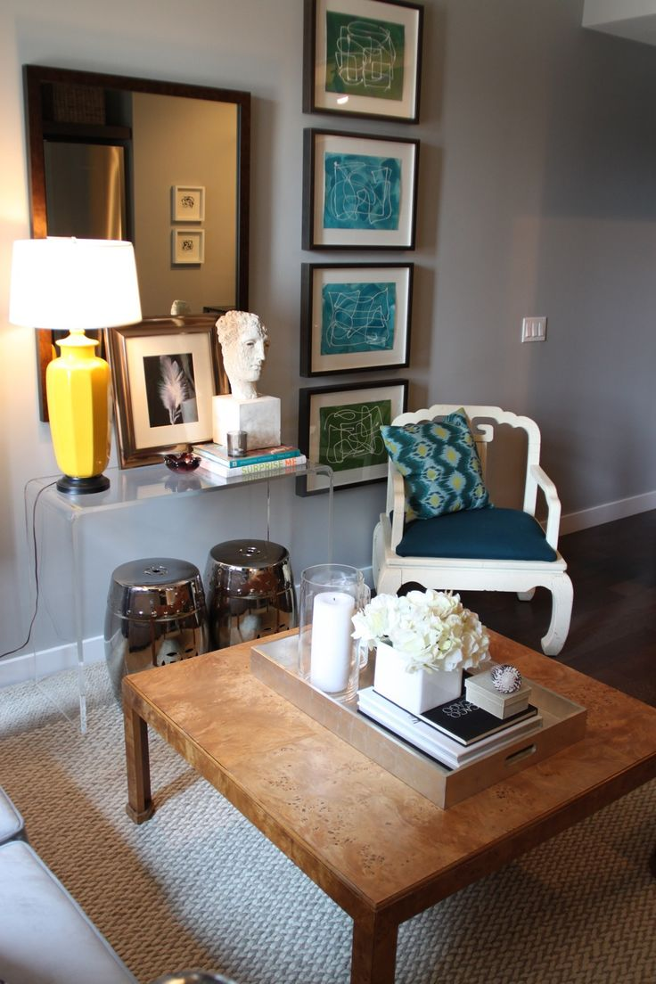 Dabney corner shaker double vanity distressed vinish - Love The White Chair And The Use Of The Lucite Console Table With Stools For Extra