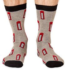 Phone Box men's super-soft bamboo crew socks | London Collection by Braintree
