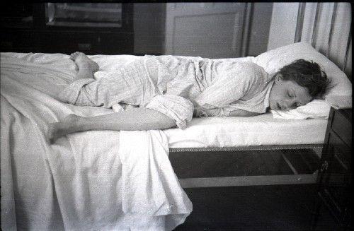intimate scene: Gerda Taro, sleeping in pajamas, in one of the newly discovered…