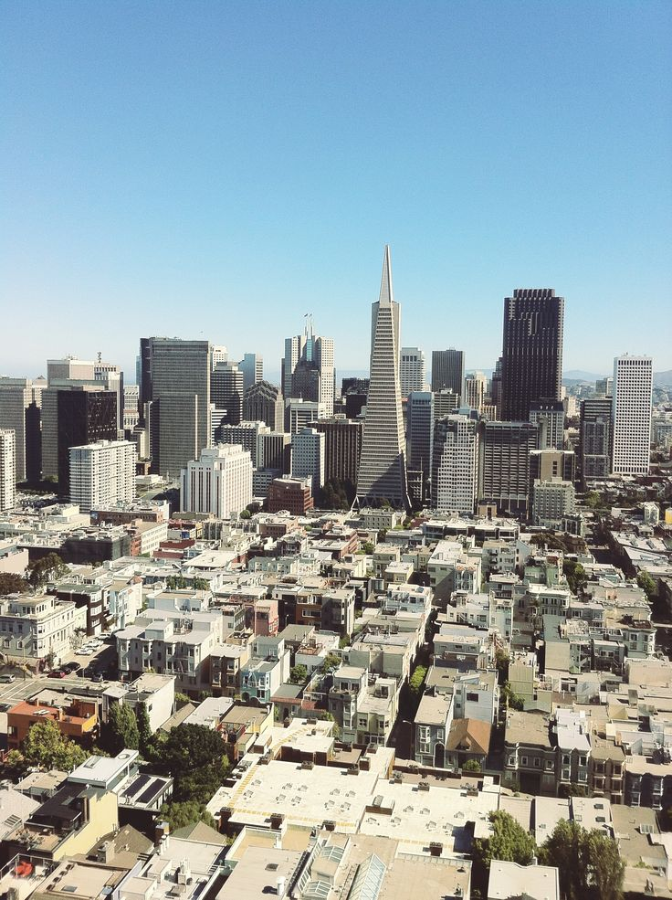 Financial district from the Coit Tower, SF, California