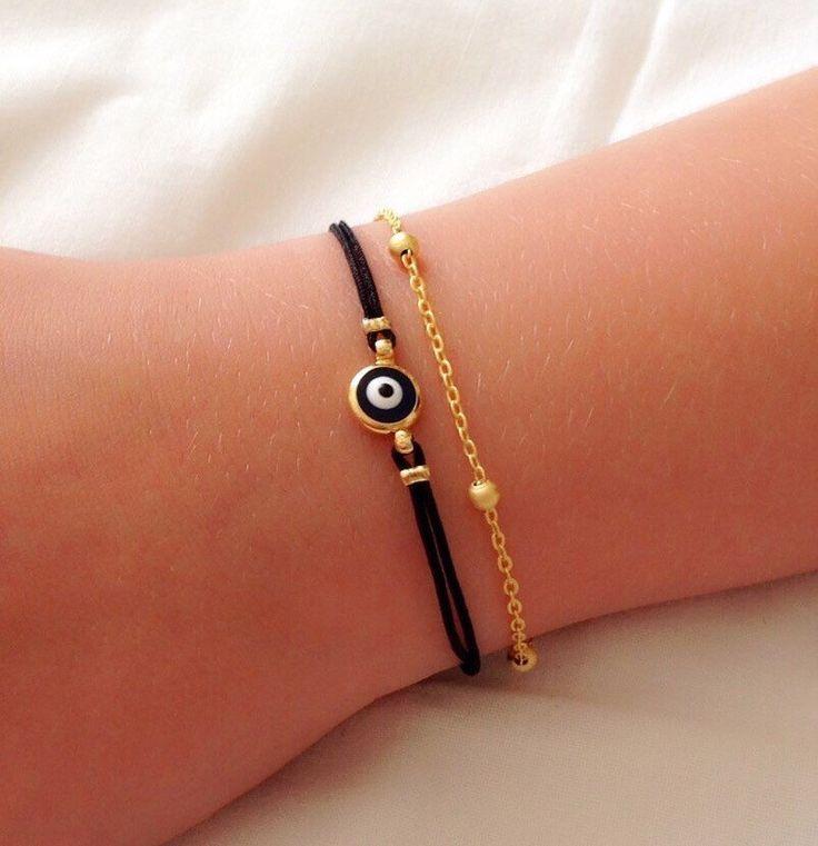 A personal favorite from my Etsy shop https://www.etsy.com/listing/238735228/evil-eye-bracelet-birthday-gift-black