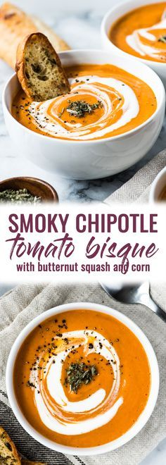 This Smoky Chipotle Tomato Bisque recipe is made with roasted butternut squash, corn and tomatoes for a healthy and comforting lunch and dinner. (gluten free, paleo, vegetarian, vegan) #tomatobisque #tomatosoup #butternutsquash