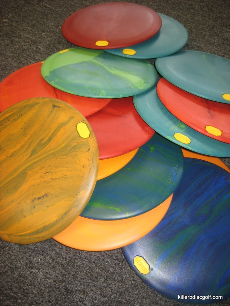 Vibram Disc Golf Discs! My favorite discs to play with - no two discs are exactly alike...and you have to love playing with rubber over plastic!