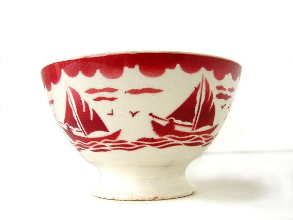 Reserved For K French Vintage Cafe Au Lait Bowl With Red Boat Stencil Design Badonviller Faienceries Footed Bowl French Country Kitchen