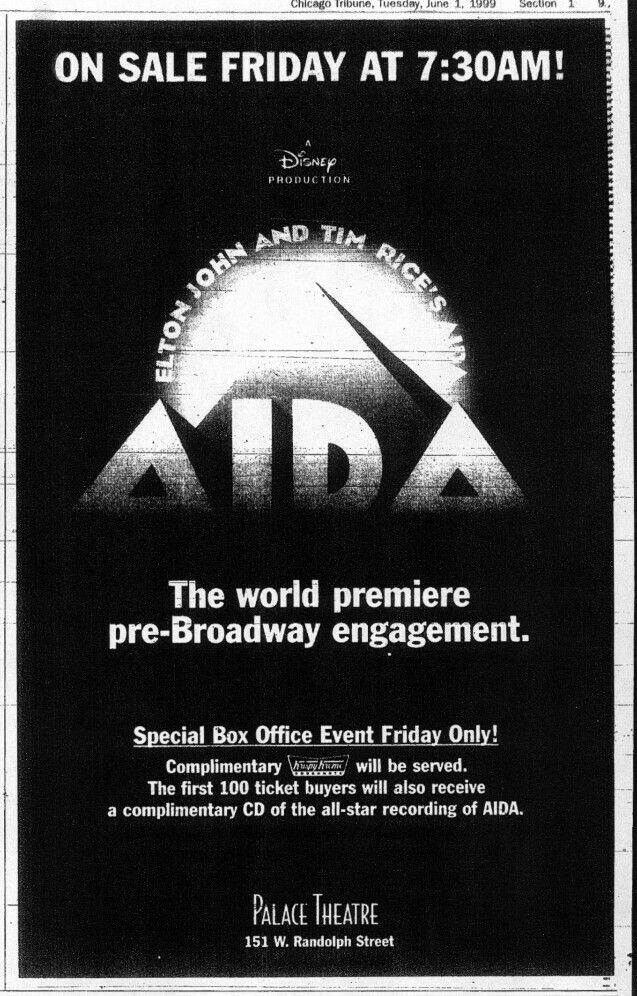 """Promotional Ad for the 1999 Chicago World Premiere of the Elton John / Tim Rice production of """"Aida"""" at the Cadillac Palace Theatre."""