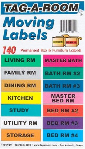 Moving Room Labels for Boxes.  No more trying to remember which box goes to which room.  Easy peel stickers are a great way to organize moving day.