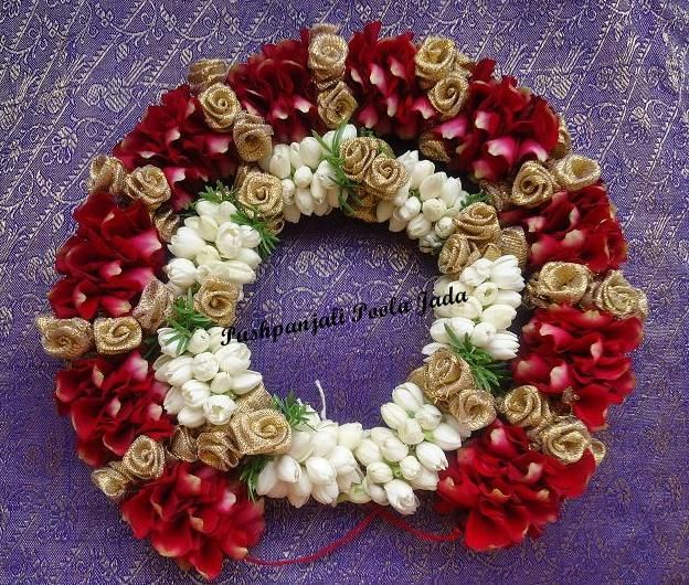 Gajra or veni made with real rose petals, jasmine buds and artificial gold roses