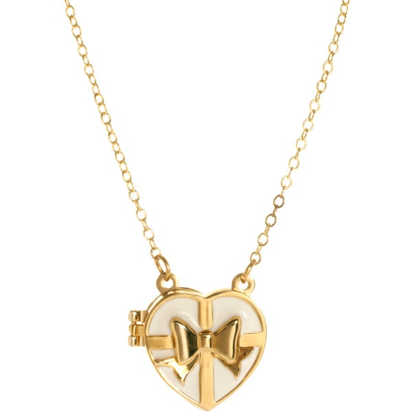 Me & Zena Bow Heart Locket Necklace ❤ liked on Polyvore
