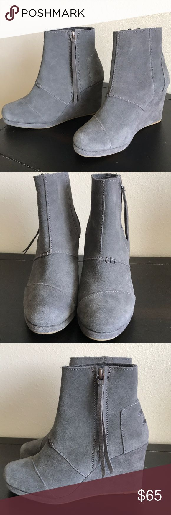 New, size 6 gray TOMS booties New, size 6 gray TOMS booties that have a stylish and functioning side zipper and approximately a 2.5 inch heel. They will look great with jeans or tucked into leggings. Toms Shoes Ankle Boots & Booties