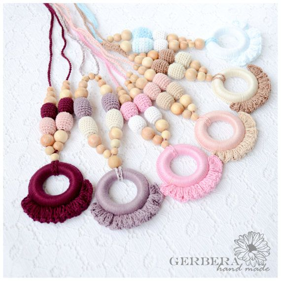 Teething necklace / Crochet nursing necklace by GerberaHandmade, $25.00