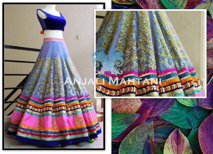 Anjali Mahtani colorful lehenga with blue choli #bridallehengadesigns #indianbridallehenga #lehengadesigns