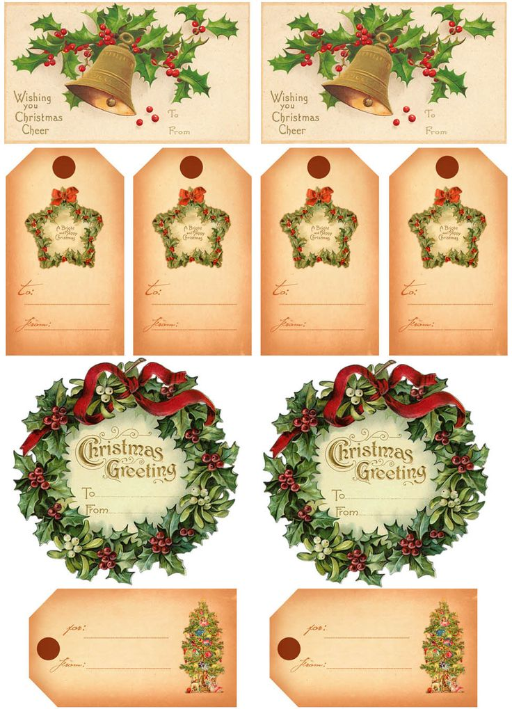 free printable vintage gift tags | Clip Art of a printable page of Christmas Gift Tags