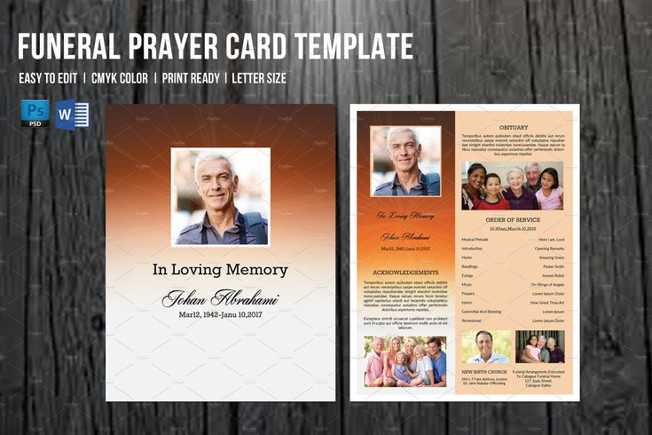 Funeral Program Card Template-V659 by Template Shop on @creativemarket