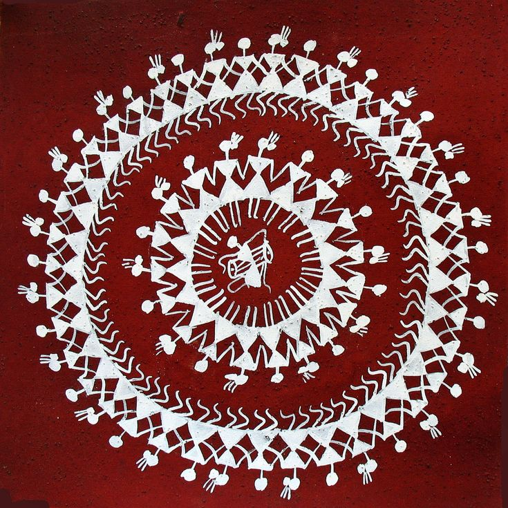 "The Warli paintings reflect the relaxed lives of the Warli tribe and include scenes from hunting, harvesting, people chatting, cooking food, milking cows etc. The ""tree of life"" and the ""Tarpa dance"" are significant images that are often seen in Warli art. The ritual paintings are usually done inside the huts. The walls are made of a mixture of branches, earth and cow dung, making a red ochre background for the wall paintings. The Warli use only white for their paintings."