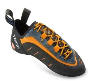 TRIOP CONGA A technical shoe recommended for indoor and outdoor mid-level and advanced climbers. So needed and sensitive toe part for the smallest footholds was saved. Lightly curved last together with a perfect construction offers an extraordinary performance. Comfort on an instep part is attained with PU, synthetic leather and Lycra