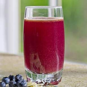 Blueberry-Cabbage Power Juice with red cabbage, cucumber, blueberries, apple. From EatingWell.com.