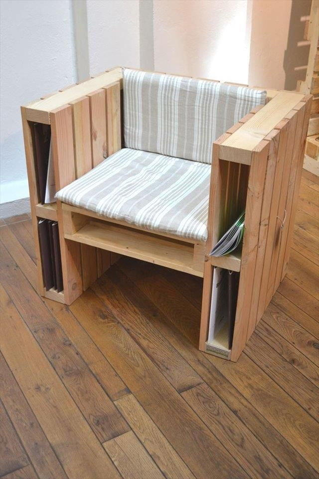 Pallet #Chair with Storage Cubbies - DIY: Top 10 Recycled Pallet ideas and Projects | 99 Pallets