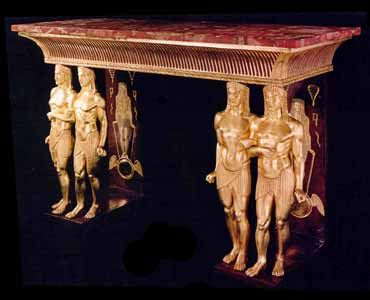 Egyptian Revival Giltwood And Faux Porphyry Side Table In The Manner Of  Nottolini