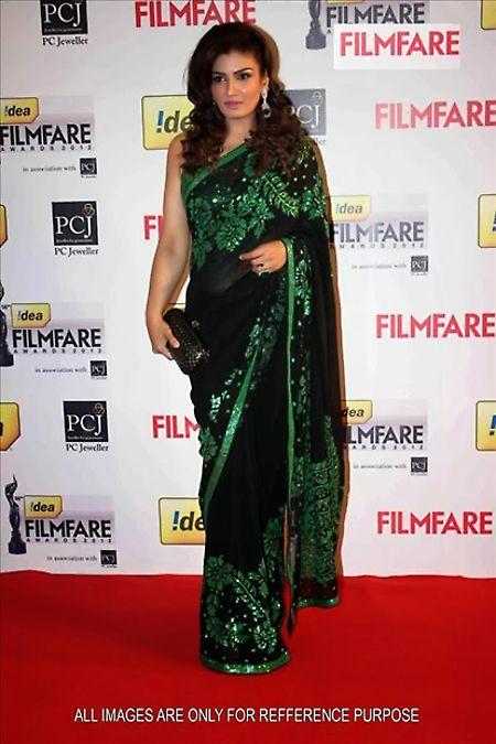 #RaveenaTondon Filmfare Black Georgette #Saree