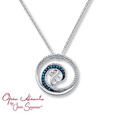 Blue Diamond Necklace 1/10 ct tw Diamonds Sterling Silver