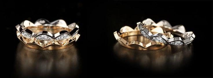 Saarikorpi Design, WaterLily rings, 18K white and yellow gold, W/VS diamonds