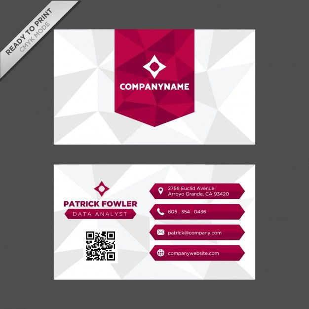 Polygonal shapes business card design Free Vector