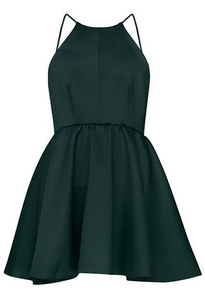 Forest Green Minimal Halter Neck Short A-Line Dress,Spaghetti Black Party Dress,41421