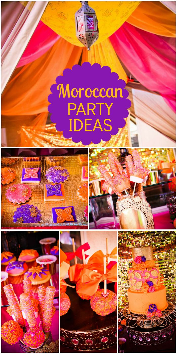 Amazing cake and decorations at this purple, pink and gold Moroccan bridal shower!  See more party ideas at CatchMyParty.com!