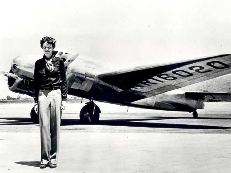 This image shows Earhart standing in front of the Lockheed Electra in which she disappeared in July 1937. Description from pinterest.com. I searched for this on bing.com/images