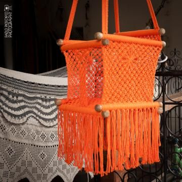 Baby Swing Chair In Macrame Soft Cotton Orange
