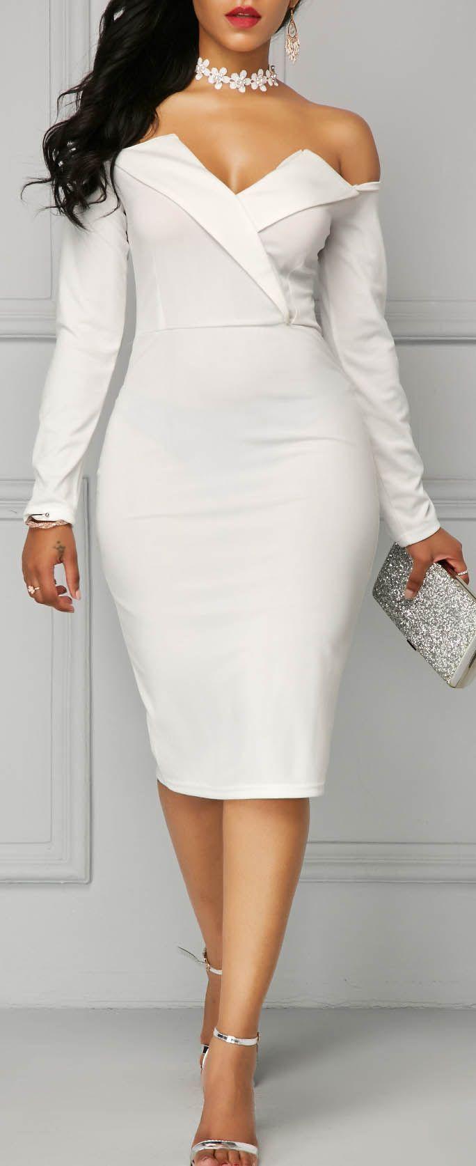 2e5738fdaa Long Sleeve White Bardot Sheath Dress