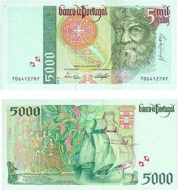 Portugal - 5000 escudos – Vasco da Gama Entrada em circulação: 15-02-1996 Retirada de circulação: 28-02-2002